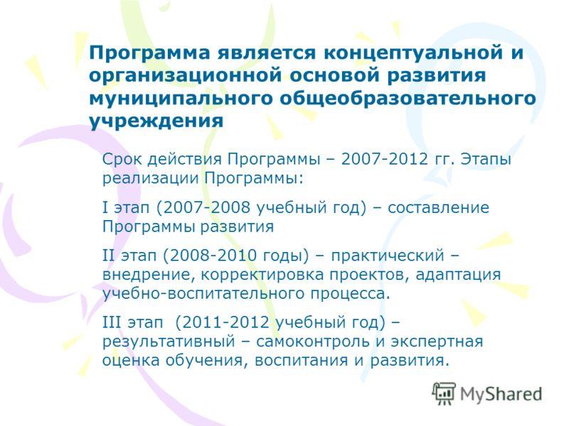 Программа является концептуальной и организационной основой развития муниципального общеобразовательного учреждения Срок действия Программы – 2007-2012 гг. Этапы реализации Программы: I этап (2007-2008 учебный год) – составление Программы развития II