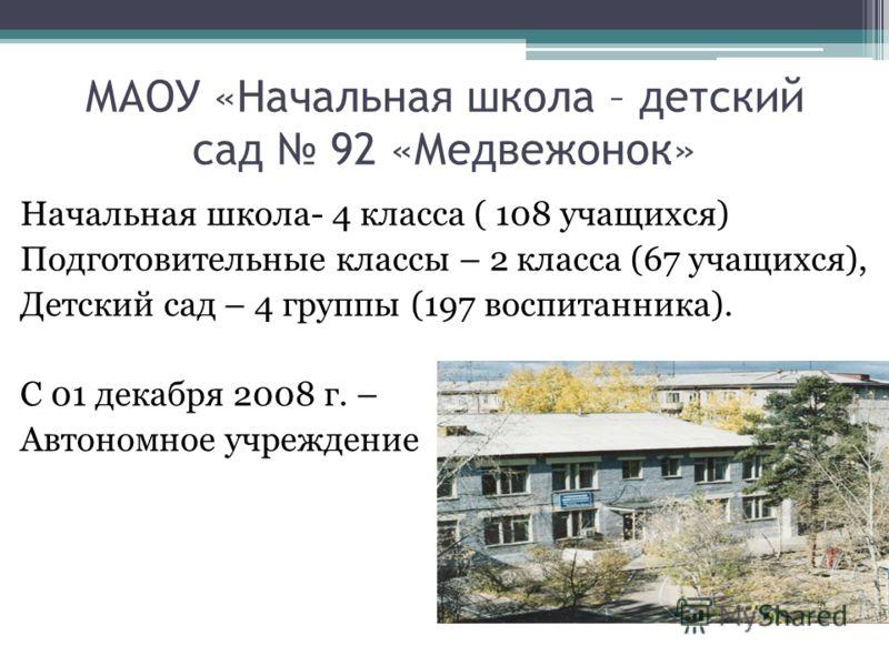 Начальная школа- 4 класса ( 108 учащихся) Подготовительные классы – 2 класса (67 учащихся), Детский сад – 4 группы (197 воспитанника). С 01 декабря 2008 г. – Автономное учреждение