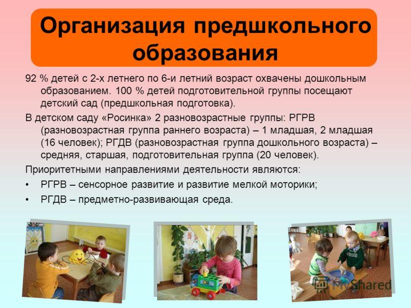 Организация предшкольного образования 92 % детей с 2-х летнего по 6-и летний возраст охвачены дошкольным образованием. 100 % детей подготовительной группы посещают детский сад (предшкольная подготовка). В детском саду «Росинка» 2 разновозрастные груп