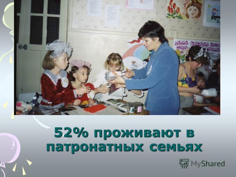 52% проживают в патронатных семьях