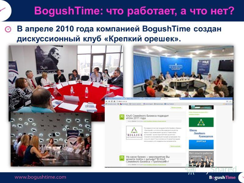 В апреле 2010 года компанией BogushTime создан дискуссионный клуб «Крепкий орешек». BogushTime: что работает, а что нет?
