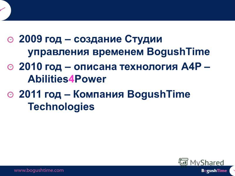 2009 год – создание Студии управления временем BogushTime 2010 год – описана технология А4Р – Abilities4Power 2011 год – Компания BogushTime Technologies