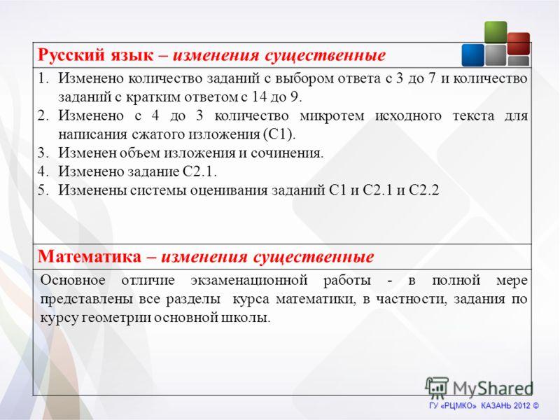 Русский язык – изменения существенные 1.Изменено количество заданий с выбором ответа с 3 до 7 и количество заданий с кратким ответом с 14 до 9. 2.Изменено с 4 до 3 количество микротем исходного текста для написания сжатого изложения (С1). 3.Изменен о