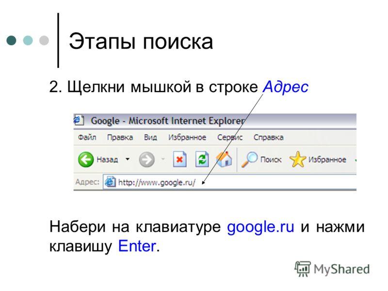 Этапы поиска 2. Щелкни мышкой в строке Адрес Набери на клавиатуре google.ru и нажми клавишу Enter.