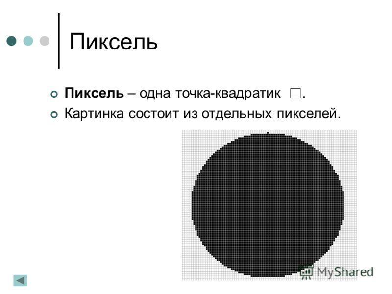 Пиксель Пиксель – одна точка-квадратик. Картинка состоит из отдельных пикселей.