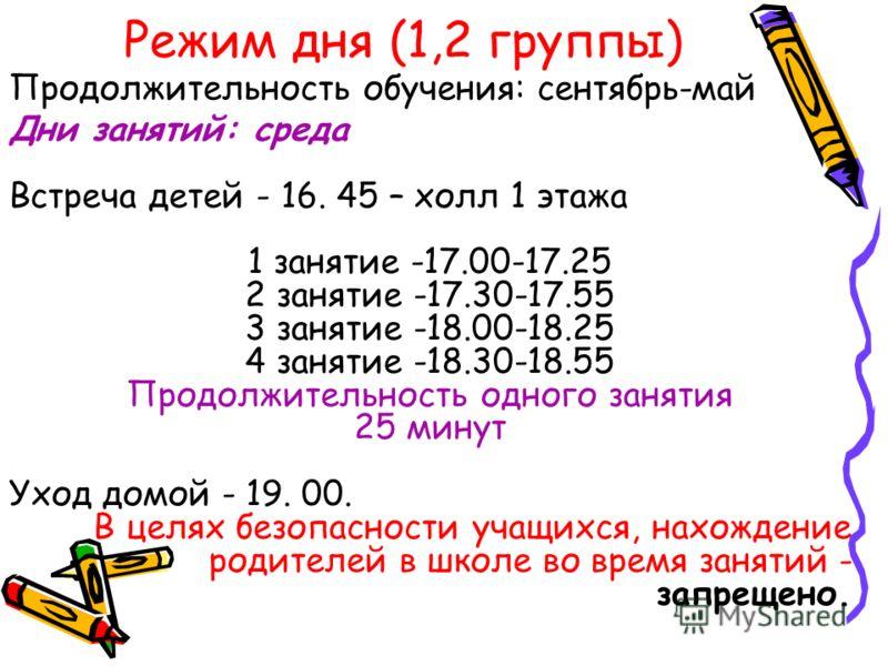 Режим дня (1,2 группы) Дни занятий: среда Встреча детей - 16. 45 – холл 1 этажа 1 занятие -17.00-17.25 2 занятие -17.30-17.55 3 занятие -18.00-18.25 4 занятие -18.30-18.55 Продолжительность одного занятия 25 минут Уход домой - 19. 00. В целях безопас