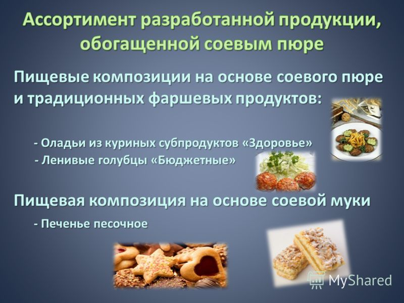 Пищевые композиции на основе соевого пюре и традиционных фаршевых продуктов: - Оладьи из куриных субпродуктов «Здоровье» - Ленивые голубцы «Бюджетные» Пищевая композиция на основе соевой муки - Печенье песочное