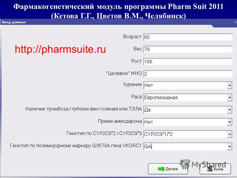 Фармакогенетический модуль программы Pharm Suit 2011 (Кетова Г.Г., Цветов В.М., Челябинск) http://pharmsuite.ru