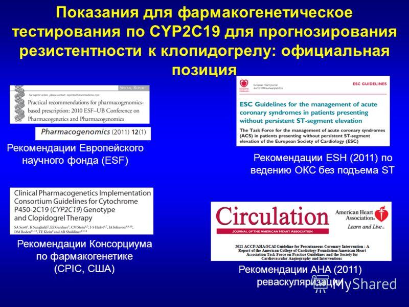 Показания для фармакогенетическое тестирования по CYP2C19 для прогнозирования резистентности к клопидогрелу: официальная позиция Рекомендации Европейского научного фонда (ESF) Рекомендации Консорциума по фармакогенетике (CPIC, США) Рекомендации ESH (