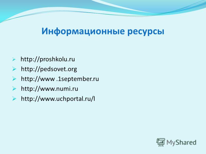 Информационные ресурсы http://proshkolu.ru http://pedsovet.org http://www.1september.ru http://www.numi.ru http://www.uchportal.ru/l