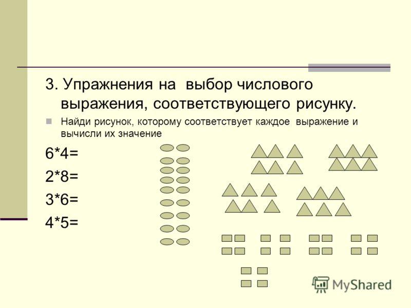 3. Упражнения на выбор числового выражения, соответствующего рисунку. Найди рисунок, которому соответствует каждое выражение и вычисли их значение 6*4= 2*8= 3*6= 4*5=