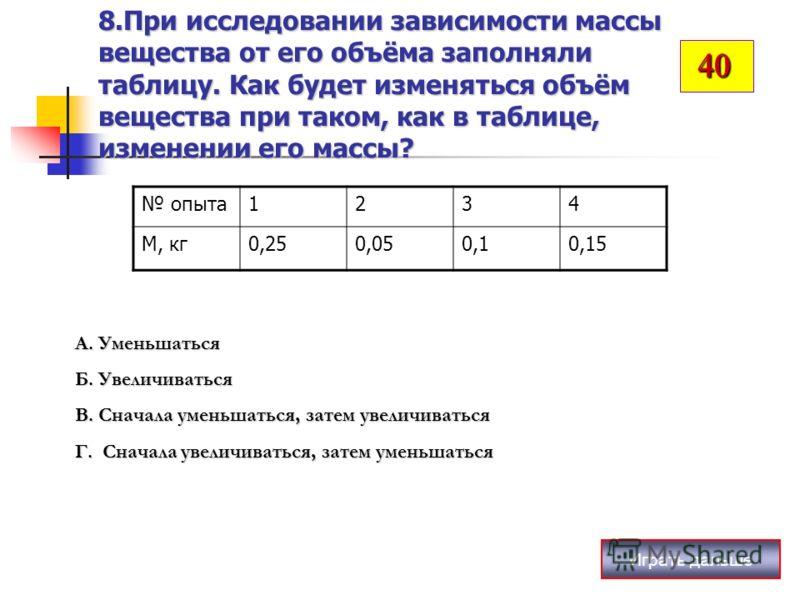 8.При исследовании зависимости массы вещества от его объёма заполняли таблицу. Как будет изменяться объём вещества при таком, как в таблице, изменении его массы? Играть дальше опыта1234 М, кг0,250,050,10,15 А. Уменьшаться Б. Увеличиваться В. Сначала