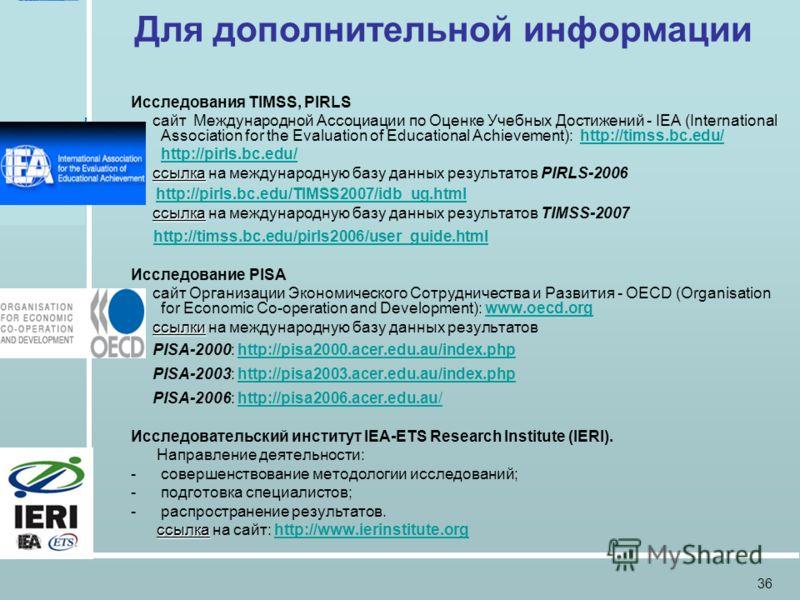 Российская Академия образования Москва, 27 мая 2009 36 Для дополнительной информации Исследования TIMSS, PIRLS сайт Международной Ассоциации по Оценке Учебных Достижений - IEA (International Association for the Evaluation of Educational Achievement):