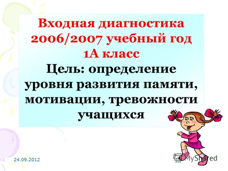 24.09.201223 Входная диагностика 2006/2007 учебный год 1А класс Цель: определение уровня развития памяти, мотивации, тревожности учащихся