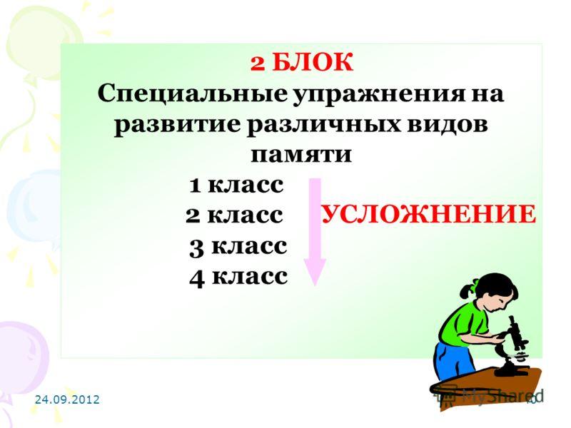 24.09.201240 2 БЛОК Специальные упражнения на развитие различных видов памяти 1 класс 2 класс УСЛОЖНЕНИЕ 3 класс 4 класс