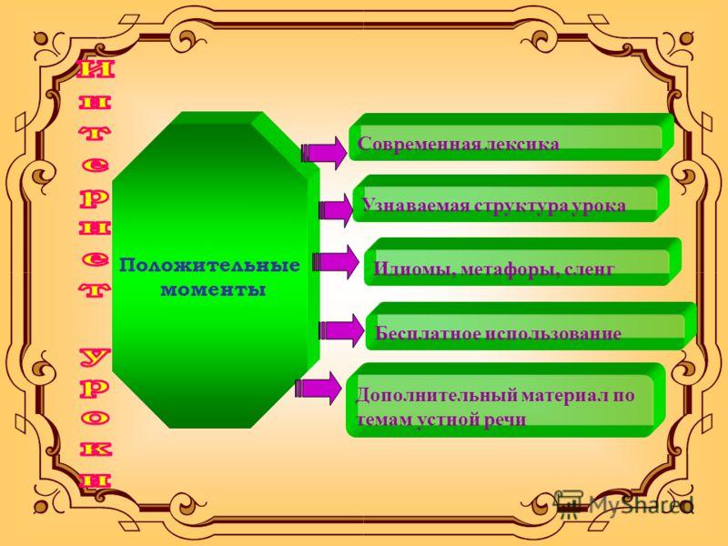 Положительные моменты Современная лексика Узнаваемая структура урока Идиомы, метафоры, сленг Бесплатное использование Дополнительный материал по темам устной речи