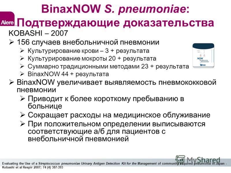BinaxNOW S. pneumoniae: Подтверждающие доказательства KOBASHI – 2007 156 случаев внебольничной пневмонии Культурирование крови – 3 + результата Культурирование мокроты 20 + результата Суммарно традиционными методами 23 + результата BinaxNOW 44 + резу
