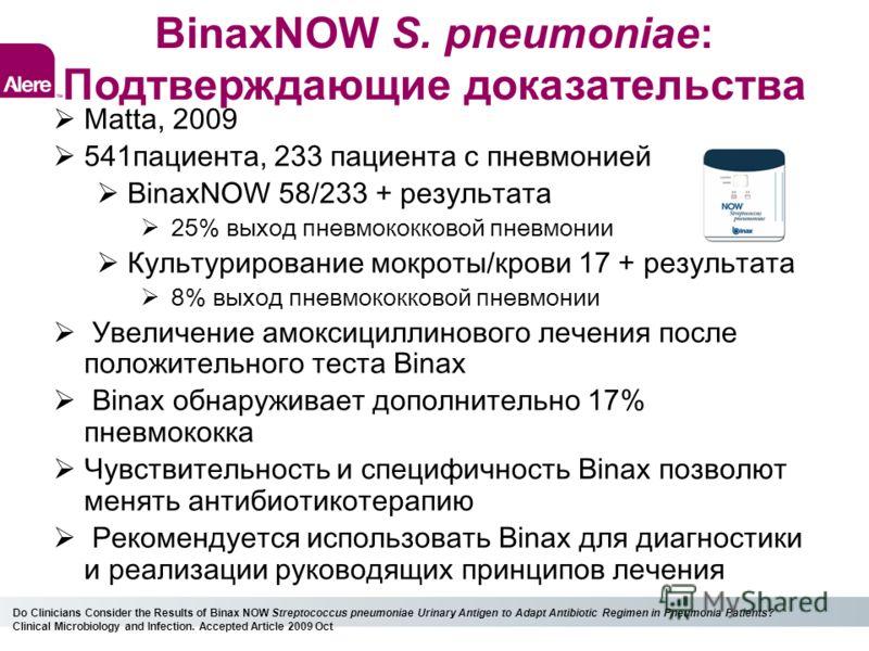 BinaxNOW S. pneumoniae: Подтверждающие доказательства Matta, 2009 541пациента, 233 пациента с пневмонией BinaxNOW 58/233 + результата 25% выход пневмококковой пневмонии Культурирование мокроты/крови 17 + результата 8% выход пневмококковой пневмонии У