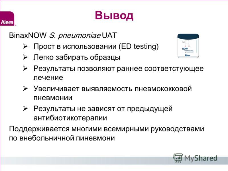 Вывод BinaxNOW S. pneumoniae UAT Прост в использовании (ED testing) Легко забирать образцы Результаты позволяют раннее соответстующее лечение Увеличивает выявляемость пневмококковой пневмонии Результаты не зависят от предыдущей антибиотикотерапии Под
