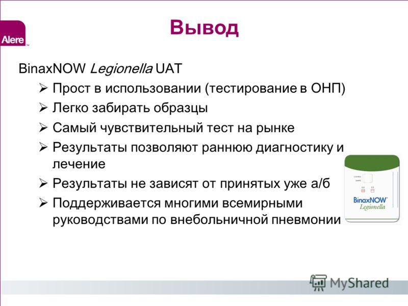 Вывод BinaxNOW Legionella UAT Прост в использовании (тестирование в ОНП) Легко забирать образцы Самый чувствительный тест на рынке Результаты позволяют раннюю диагностику и лечение Результаты не зависят от принятых уже а/б Поддерживается многими всем