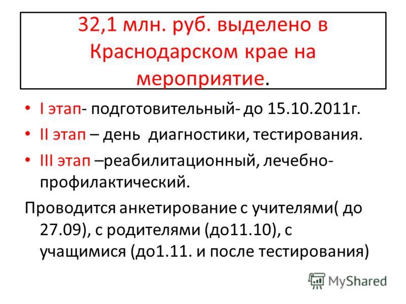 32,1 млн. руб. выделено в Краснодарском крае на мероприятие. I этап- подготовительный- до 15.10.2011г. II этап – день диагностики, тестирования. III этап –реабилитационный, лечебно- профилактический. Проводится анкетирование с учителями( до 27.09), с
