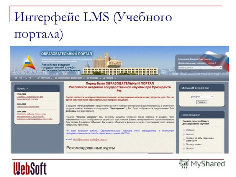 Интерфейс LMS (Учебного портала)