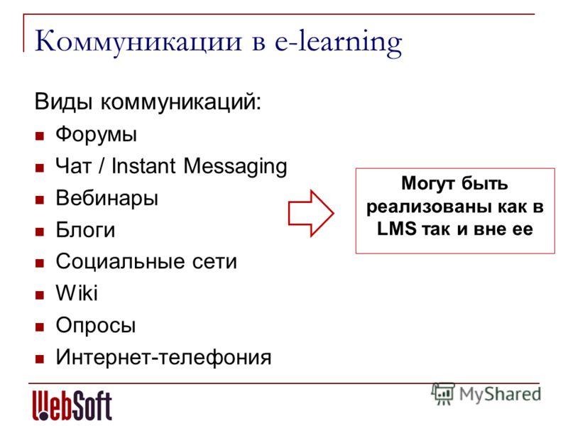 Коммуникации в e-learning Виды коммуникаций: Форумы Чат / Instant Messaging Вебинары Блоги Социальные сети Wiki Опросы Интернет-телефония Могут быть реализованы как в LMS так и вне ее
