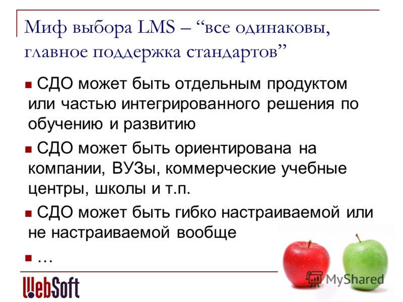 Миф выбора LMS – все одинаковы, главное поддержка стандартов СДО может быть отдельным продуктом или частью интегрированного решения по обучению и развитию СДО может быть ориентирована на компании, ВУЗы, коммерческие учебные центры, школы и т.п. СДО м