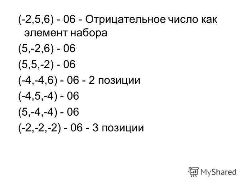 (-2,5,6) - 06 - Отрицательное число как элемент набора (5,-2,6) - 06 (5,5,-2) - 06 (-4,-4,6) - 06 - 2 позиции (-4,5,-4) - 06 (5,-4,-4) - 06 (-2,-2,-2) - 06 - 3 позиции