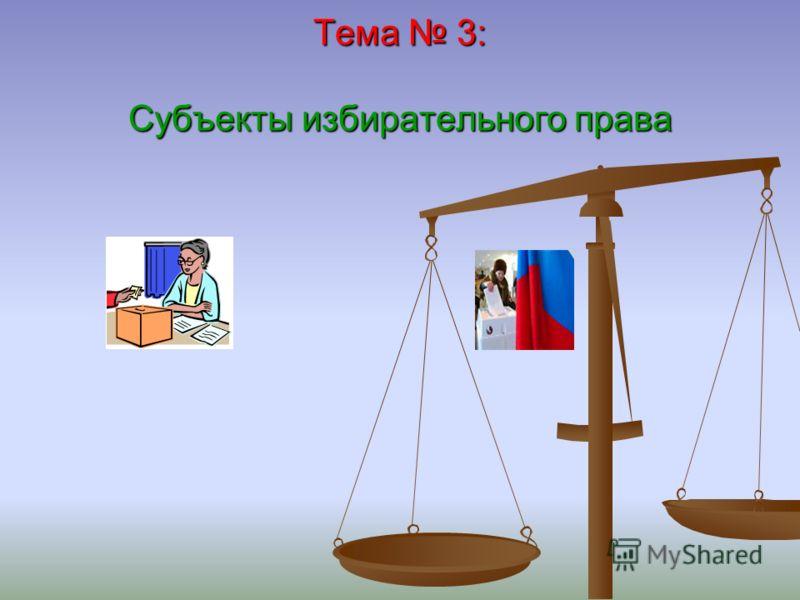 Тема 3: Субъекты избирательного права