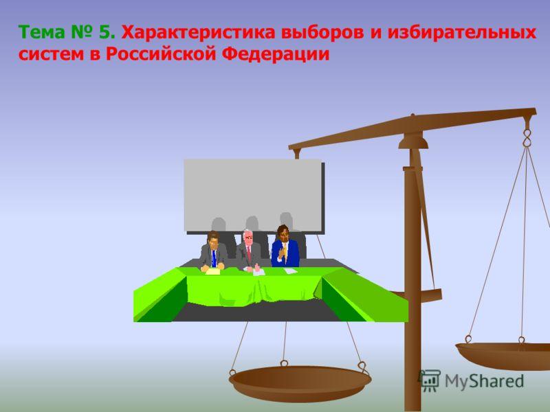 Тема 5. Характеристика выборов и избирательных систем в Российской Федерации
