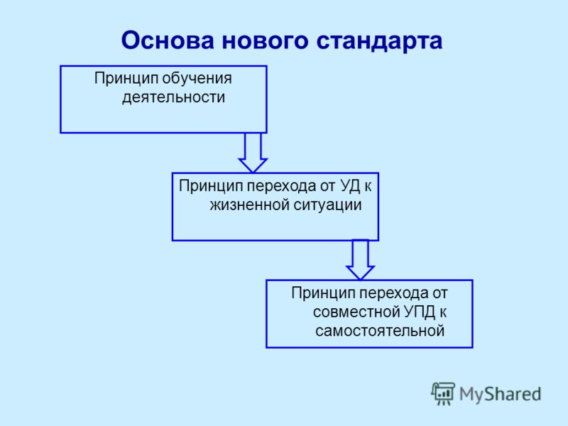Основа нового стандарта Принцип обучения деятельности Принцип перехода от УД к жизненной ситуации Принцип перехода от совместной УПД к самостоятельной