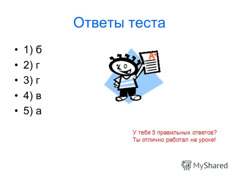 Ответы теста 1) б 2) г 3) г 4) в 5) а У тебя 5 правильных ответов? Ты отлично работал на уроке!