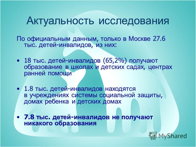 Актуальность исследования По официальным данным, только в Москве 27.6 тыс. детей - инвалидов, из них : 18 тыс. детей - инвалидов (65,2%) получают образование в школах и детских садах, центрах ранней помощи 1.8 тыс. детей - инвалидов находятся в учреж