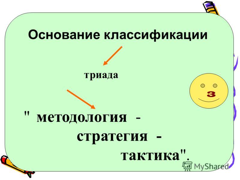 Основание классификации триада  методология - стратегия - тактика. 3