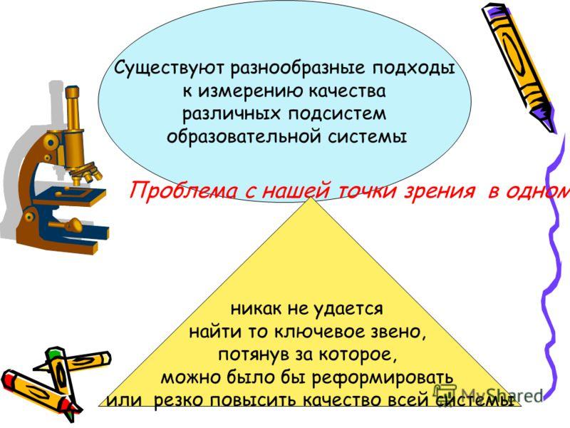 Существуют разнообразные подходы к измерению качества различных подсистем образовательной системы Проблема с нашей точки зрения в одном никак не удается найти то ключевое звено, потянув за которое, можно было бы реформировать или резко повысить качес