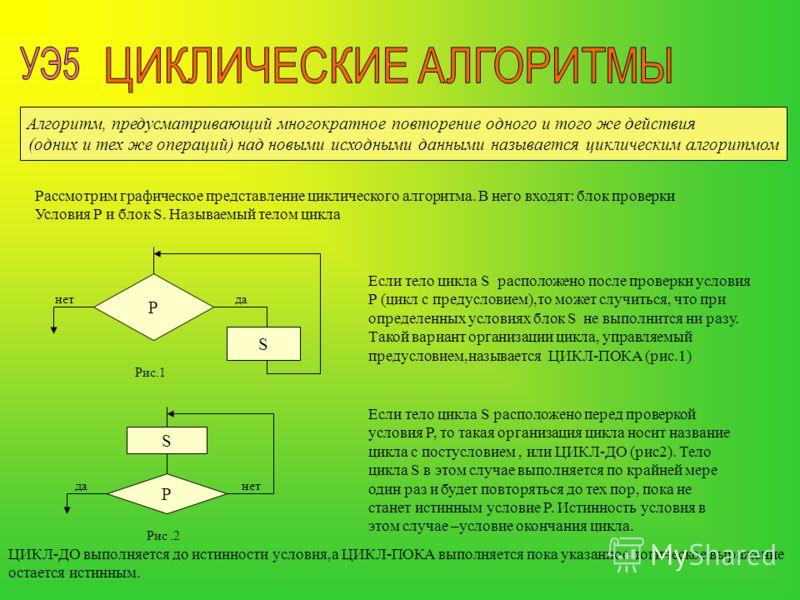 Алгоритм, предусматривающий многократное повторение одного и того же действия (одних и тех же операций) над новыми исходными данными называется циклическим алгоритмом Рассмотрим графическое представление циклического алгоритма. В него входят: блок пр