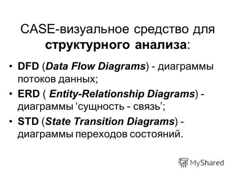 CASE-визуальное средство для структурного анализа: DFD (Data Flow Diagrams) - диаграммы потоков данных; ERD ( Entity-Relationship Diagrams) - диаграммы сущность - связь; STD (State Transition Diagrams) - диаграммы переходов состояний.