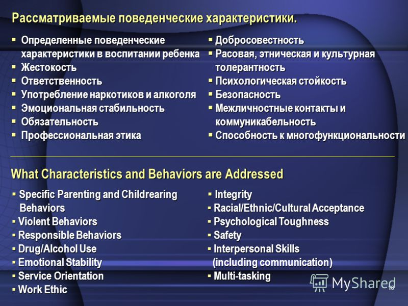 16 What Characteristics and Behaviors are Addressed Specific Parenting and Childrearing Behaviors Specific Parenting and Childrearing Behaviors Violent Behaviors Violent Behaviors Responsible Behaviors Responsible Behaviors Drug/Alcohol Use Drug/Alco