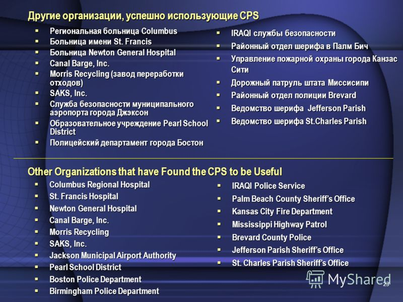 23 Other Organizations that have Found the CPS to be Useful Columbus Regional Hospital Columbus Regional Hospital St. Francis Hospital St. Francis Hospital Newton General Hospital Newton General Hospital Canal Barge, Inc. Canal Barge, Inc. Morris Rec