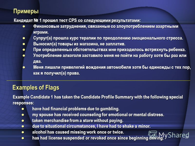 25 Examples of Flags Example Candidate 1 has taken the Candidate Profile Summary with the following special responses: have had financial problems due to gambling.have had financial problems due to gambling. my spouse has received counseling for emot
