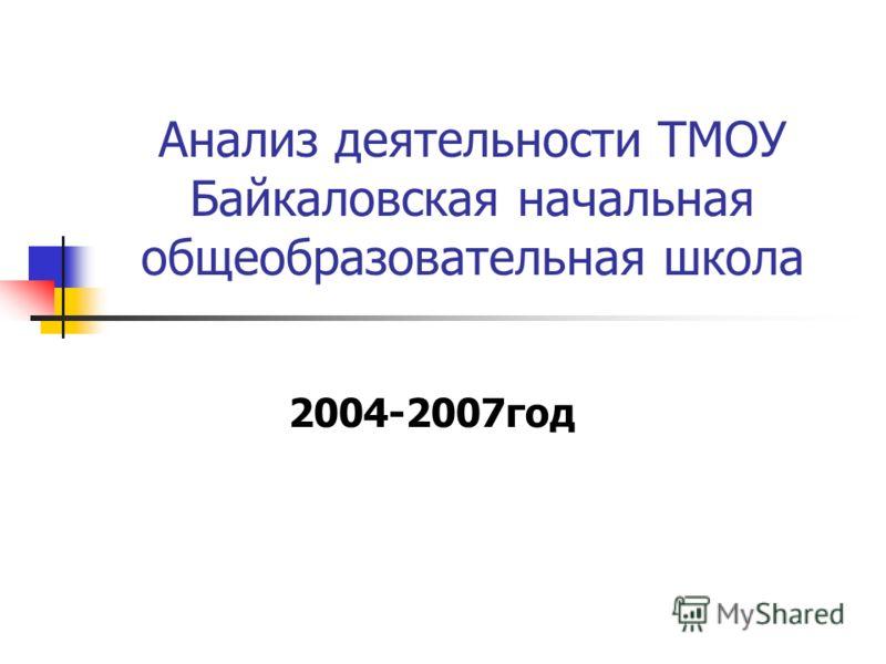 2004-2007год Анализ деятельности ТМОУ Байкаловская начальная общеобразовательная школа
