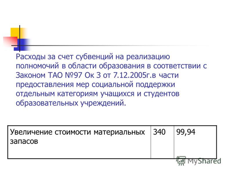 Увеличение стоимости материальных запасов 34099,94 Расходы за счет субвенций на реализацию полномочий в области образования в соответствии с Законом ТАО 97 Ок З от 7.12.2005г.в части предоставления мер социальной поддержки отдельным категориям учащих