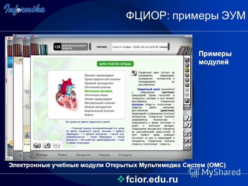 ФЦИОР: примеры ЭУМ fcior.edu.ru Примеры модулей Электронные учебные модули Открытых Мультимедиа Систем (ОМС)