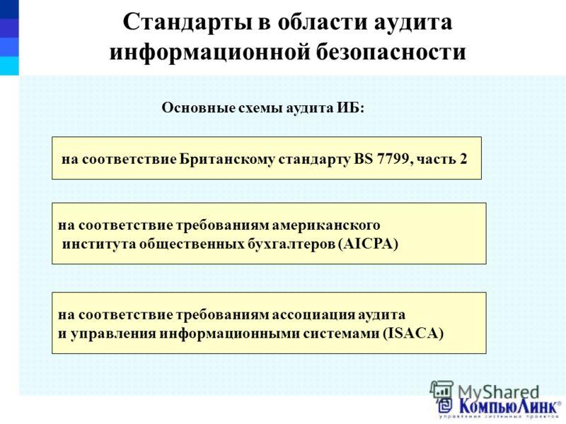 Стандарты в области аудита информационной безопасности Основные схемы аудита ИБ: на соответствие Британскому стандарту BS 7799, часть 2 на соответствие требованиям американского института общественных бухгалтеров (AICPA) на соответствие требованиям а