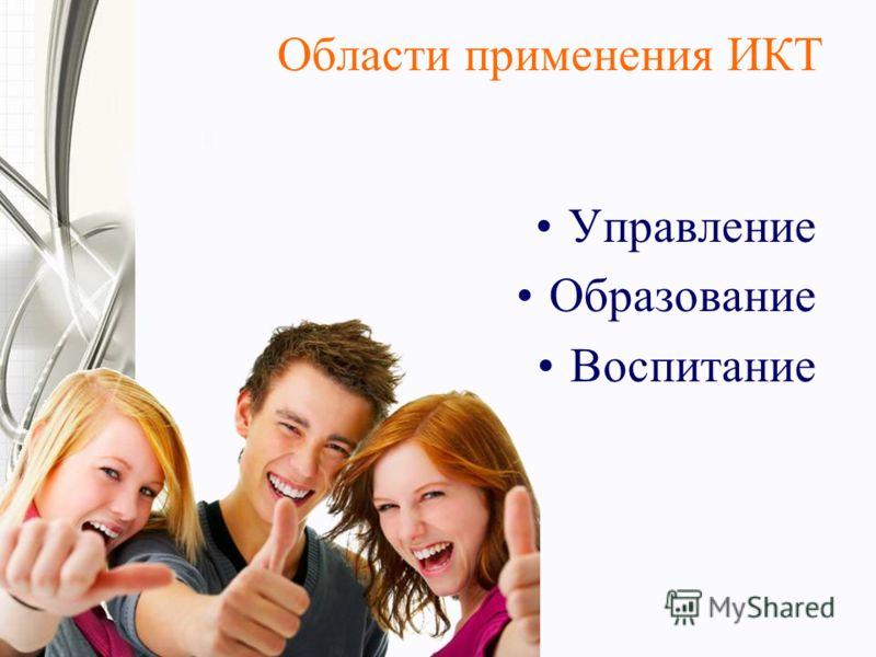 Области применения ИКТ Управление Образование Воспитание