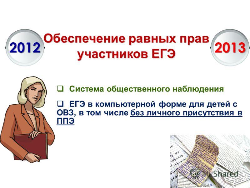 Обеспечение равных прав участников ЕГЭ 20122013 Система общественного наблюдения ЕГЭ в компьютерной форме для детей с ОВЗ, в том числе без личного присутствия в ППЭ