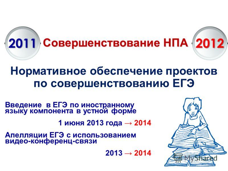 Совершенствование НПА 20112012 Нормативное обеспечение проектов по совершенствованию ЕГЭ Введение в ЕГЭ по иностранному языку компонента в устной форме 1 июня 2013 года 2014 Апелляции ЕГЭ с использованием видео-конференц-связи 2013 2014