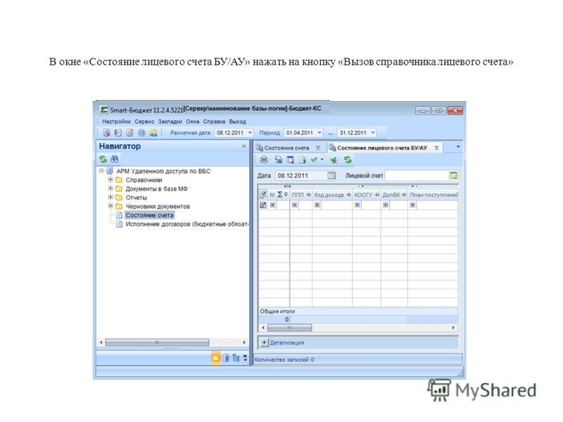 В окне «Состояние лицевого счета БУ/АУ» нажать на кнопку «Вызов справочника лицевого счета»