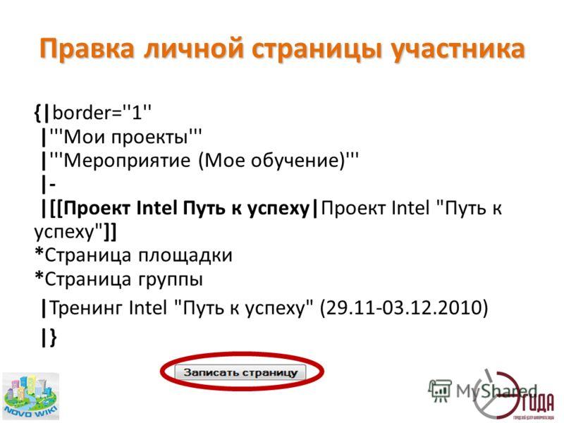 Правка личной страницы участника {|border=''1'' |'''Мои проекты''' |'''Мероприятие (Мое обучение)''' |- |[[Проект Intel Путь к успеху|Проект Intel